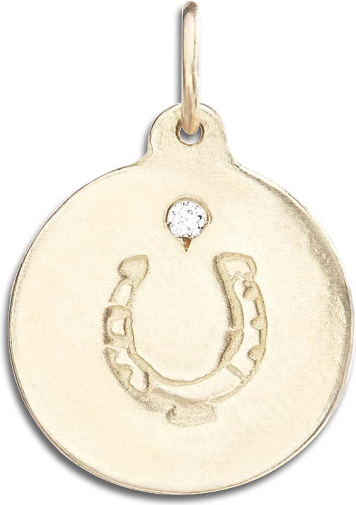 Helen Ficalora Horseshoe Disk Charm with Diamond Yellow Gold