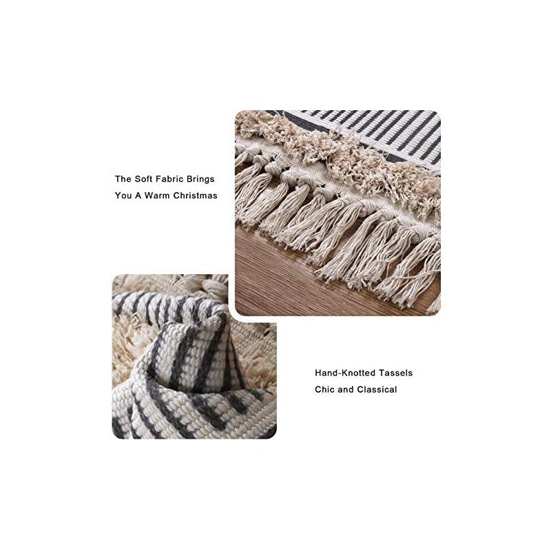 Boho Kitchen Runner Rug, 2'x5' Cotton Geometric Farmhouse Rug Shaggy Tufted Tassels Throw Area Rug Woven Washable…