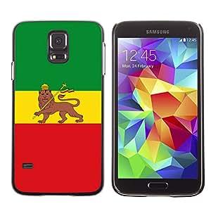 ROKK CASES / Samsung Galaxy S5 SM-G900 / RASTA MAJESTIC FLAG / Delgado Negro Plástico caso cubierta Shell Armor Funda Case Cover