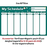 HITSAN magnetic chores chart dry erase board wall sticker kids weekly planner to do list reward chart 60 40 cm 8050ZLB01-2