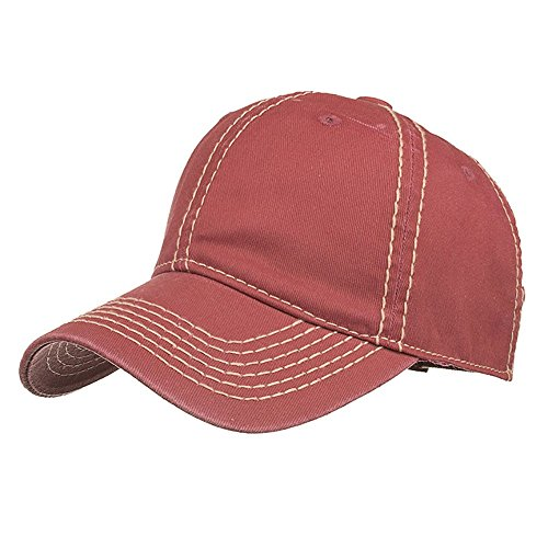 〓COOlCCI〓Men Women Washed Twill Cotton Baseball Cap Vintage Adjustable Dad Hat Wine Red