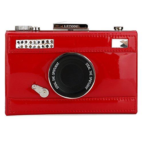 Purse Handbag Snapshot PU Camera Women's body Cross Film Red Shoulder Shaped Casual zxppqvIw