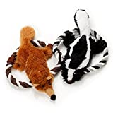 Pet Plush Toys- Set of 2 Plush Toys Dogs- Squeak Animals Toy Dogs Chewing Ropes - No Stuffing Plush - Skunk Brown Fox Toys Dogs- Perfect Medium Breeds
