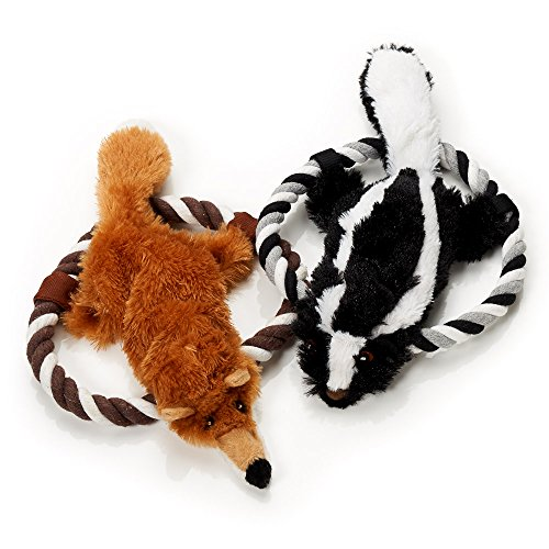 (Pet Plush Toys- Set of 2 Plush Toys Dogs- Squeak Animals Toy Dogs Chewing Ropes - No Stuffing Plush - Skunk Brown Fox Toys Dogs- Perfect Medium Breeds)