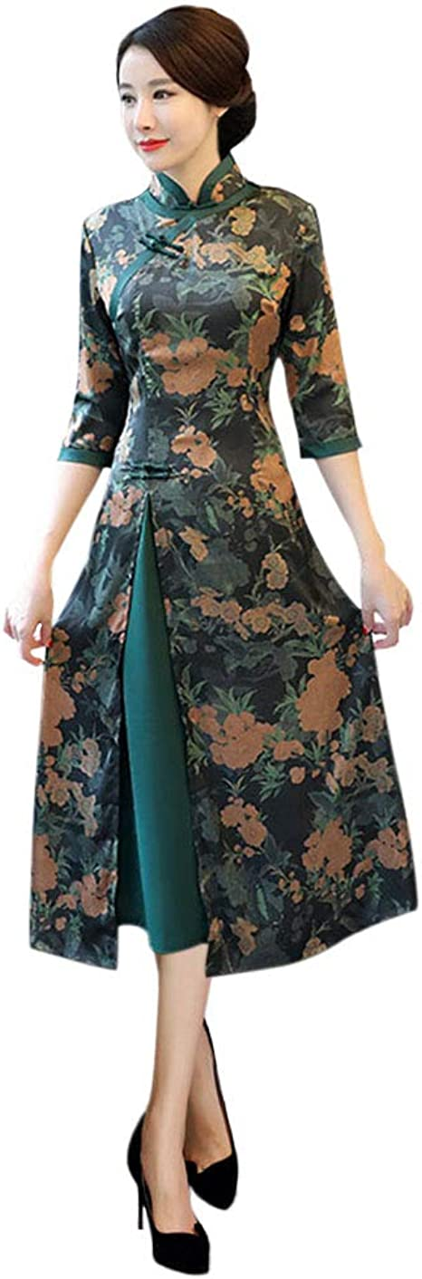 Fosheng Women/'s Qipao Floral Embroidery Cheongsam Chinese Traditional Dress