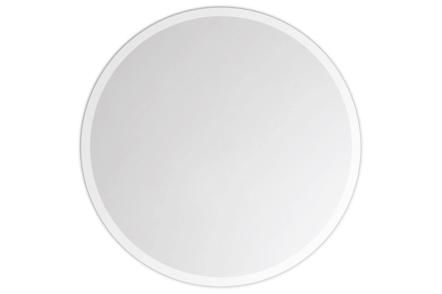 Lindner & Koch - Hanging Wall Mirror/Real Glass Mirror: Round and Bevelled, with Mounting Plate, 20cm Diameter