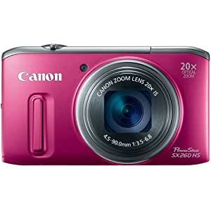 Canon PowerShot SX260 HS 12.1 MP CMOS Digital Camera with 20x Image Stabilized Zoom 25mm Wide-Angle Optical Lens and 1080p HD Video (Red) (OLD MODEL)