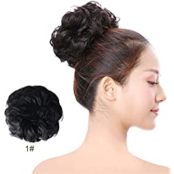 Scrunchie Bun Up Do Hair Piece Hair Ribbon Ponytail Extensions Wavy Curly Messy Extensions Donut Hair Chignon Hair Wigs Scrunchy-1#Jet Black