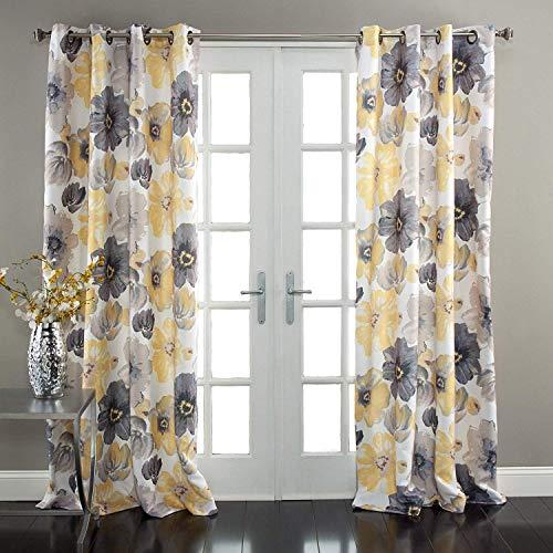 La Casa Yellow & Gray Floral Curtains Room Darkening Window Panel Set (Yellow/Gray, 52