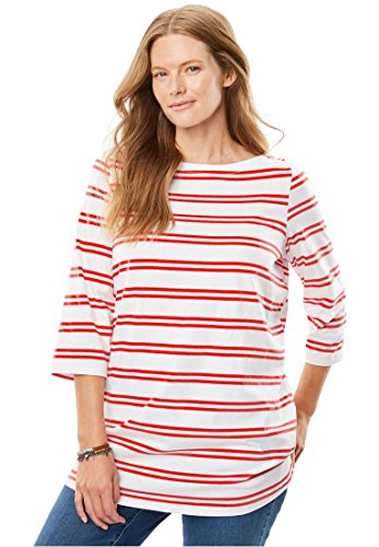 Women's Plus Size Perfect Boatneck Tee Coral Red Double - Boatneck Womens Shirt