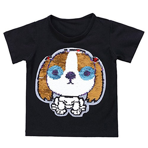 OWMMIZ Kid's T-Shirt for Short Sleeve Cotton Tee/Dog Sequin Print T Shirt Suitable for Boys and Girls (Black) ()