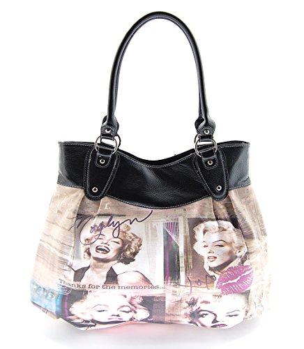 Marilyn Monroe Top Zip Shoulder Bag (Marilyn Monroe Large Purse Collage, MM2124 (Black Straps))