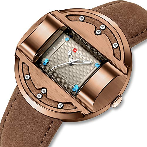 PHSTE Mens Unique Analog Quartz Watch with Genuine Brown Leather Band Waterproof Square Dial Vintage Rose Gold Casual Dress Wrist Watches