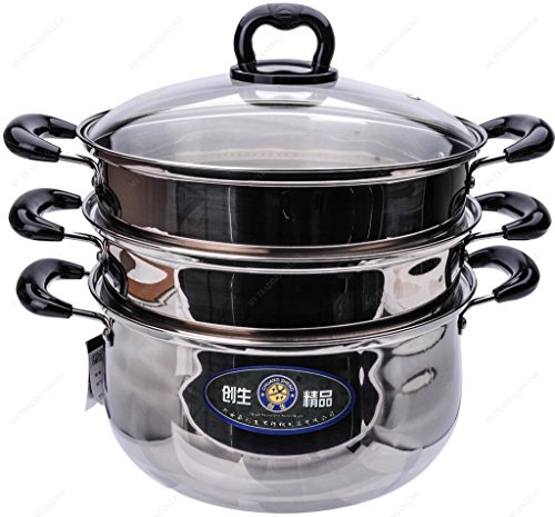 M.V. Trading S7328B Stainless Steel 3 Tiers Steamer Pot Steaming Cookware, 28cm (11-Inches)