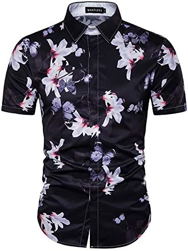 LFNANYI Mariposa Impresión 3D Camisa Hawaii Hombres Nueva Playa de Manga Corta Camisas Hawaianas Algodón Camisa de Vestir para Hombre XXXL: Amazon.es: Deportes y aire libre