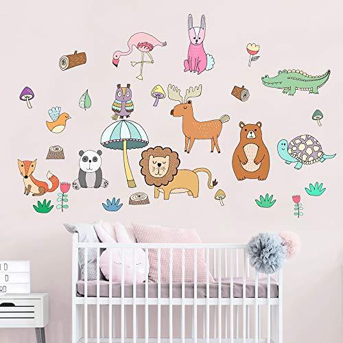 Cute Animals in The Jungle Adventure Peel & Stick Wall Decals for Kids Boys Girls Baby Nursery Bedroom Bathroom Playroom Decor