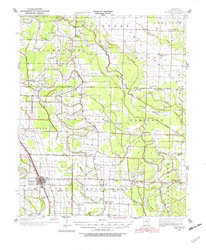YellowMaps England AR topo map, 1:62500 Scale, 15 X 15 Minute, Historical, 1937, Updated 1982, 21.8 x 18 in - Paper (Culler Lake)