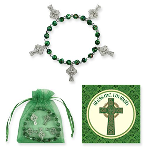 Celtic Cross Bracelet with 6 mm Faux Marble Beads,