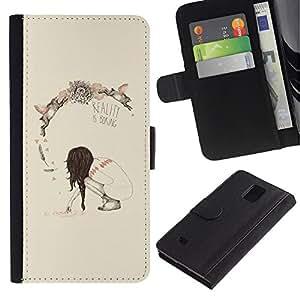 Paccase / Billetera de Cuero Caso del tirón Titular de la tarjeta Carcasa Funda para - Spring Deep Reality Boring Meaning - Samsung Galaxy Note 4 SM-N910