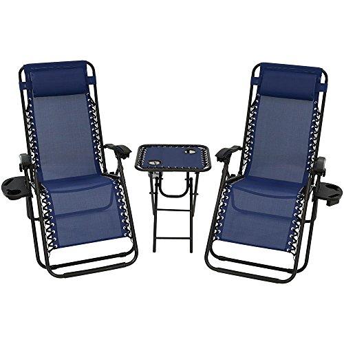 Sunnydaze Outdoor Zero Gravity Reclining Lounge Chairs Set of 2