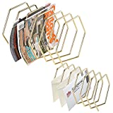 Set of 2 Modern Hexagonal Design Brass-Tone Wire Metal Desktop Mail Sorter & Magazine Rack Holder with 6-Slot