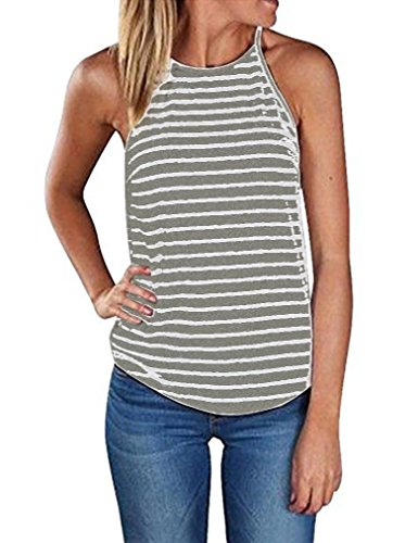 Sherosa Women's Casual Spaghetti Strap Floral Print Tank Tops Camis Shirt (XL, Light Gret & White)