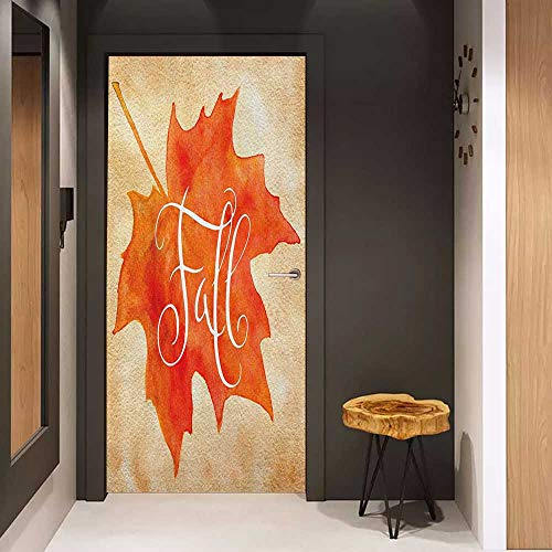 Photo Wall Decal Fall Vivid Watercolor Style Maple Leaf Fall Word on Vintage Backdrop Artsy for Home Decor W23 x H70 Orange Pale Brown White