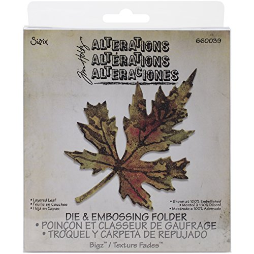 Sizzix 660039 Layered Leaf Bigz Die with A2 Texture Fades Folder by Tim Holtz