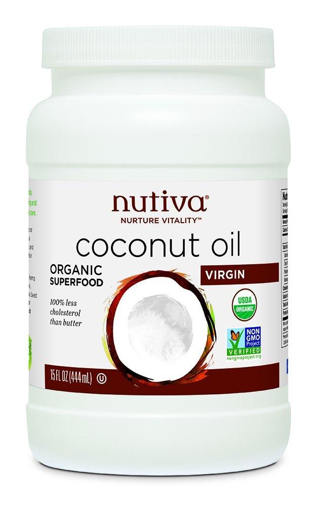 Nutiva Organic, Cold-Pressed, Unrefined, Virgin Coconut Oil from Fresh, non-GMO, Sustainably Farmed Coconuts, 15 Fluid Ounces