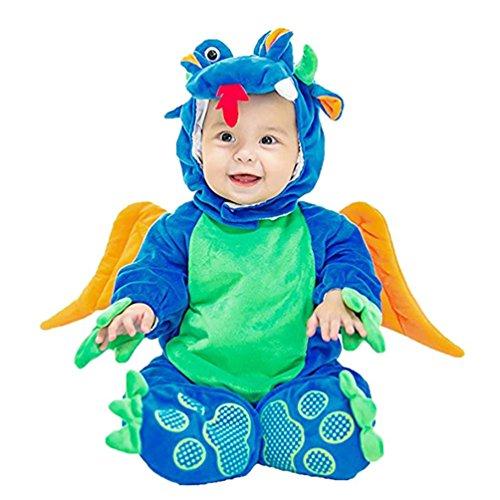 Shubuy Baby Halloween Dinosaurs Jumpsuit Costume Hooded Bodysuit Footies Romper 3PC/Set Onesie Outfit (66CM, (Asian Costumes Halloween Ideas)