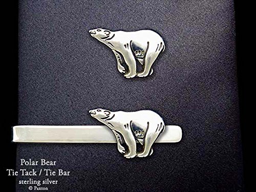 Polar Bear Tie Tack or Polar Bear Tie Bar in Solid Sterling Silver Hand Carved & Cast by Paxton -