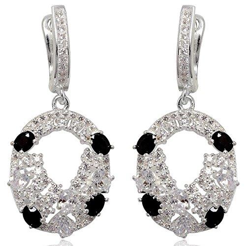 EYS JEWELRY® boucles d'oreilles pour dames ovale 39 x 18 mm Oxyde de Zirconium argent sterling 925 multicolore avec étui de cadeau pendantes d'oreilles femme