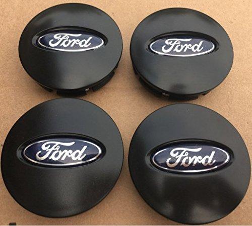 NEW SET OF 4 FORD MATTE BLACK CENTER WHEEL HUB CAPS EMBLEM COVER (Ford Center Cap)
