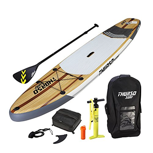 THURSO SURF Waterwalker Inflatable Stand Up Paddle Board SUP 11' x 32'' x 6'' TWO LAYER Deluxe Package Includes CARBON Shaft Paddle/2+1 Fins/Deck Bag/Leash/Pump/Backpack