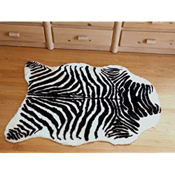 Amazon Com Plush Black And White Faux Zebra Skin Rug From