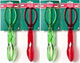 Salad Tongs W/ Red & Green Transparent Tints 11'' Plastic Tongs (4 Pack) - Separates Into Serving Spoon & Serving Fork