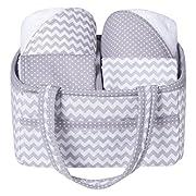 Trend Lab 5 Piece Baby Bath Gift Set, Gray Chevron