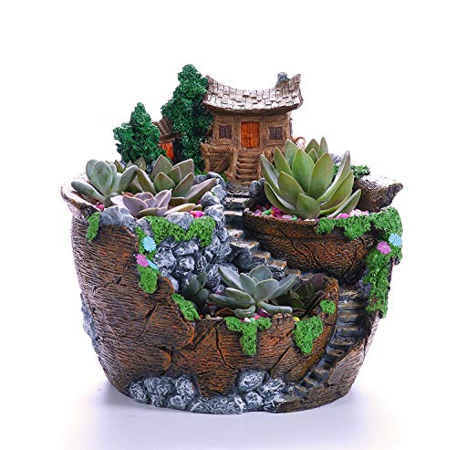 Succulent Planter Cactus Flower Pot, Creative Novelty Vintage Rasin Made, Stone and Wood Like PP-SH6026-ORG