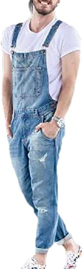 Qiangjinjiu メンズスタイリッシュなジーンズビブオーバーは、リッピング穴弾性ロングパンツを破壊しました
