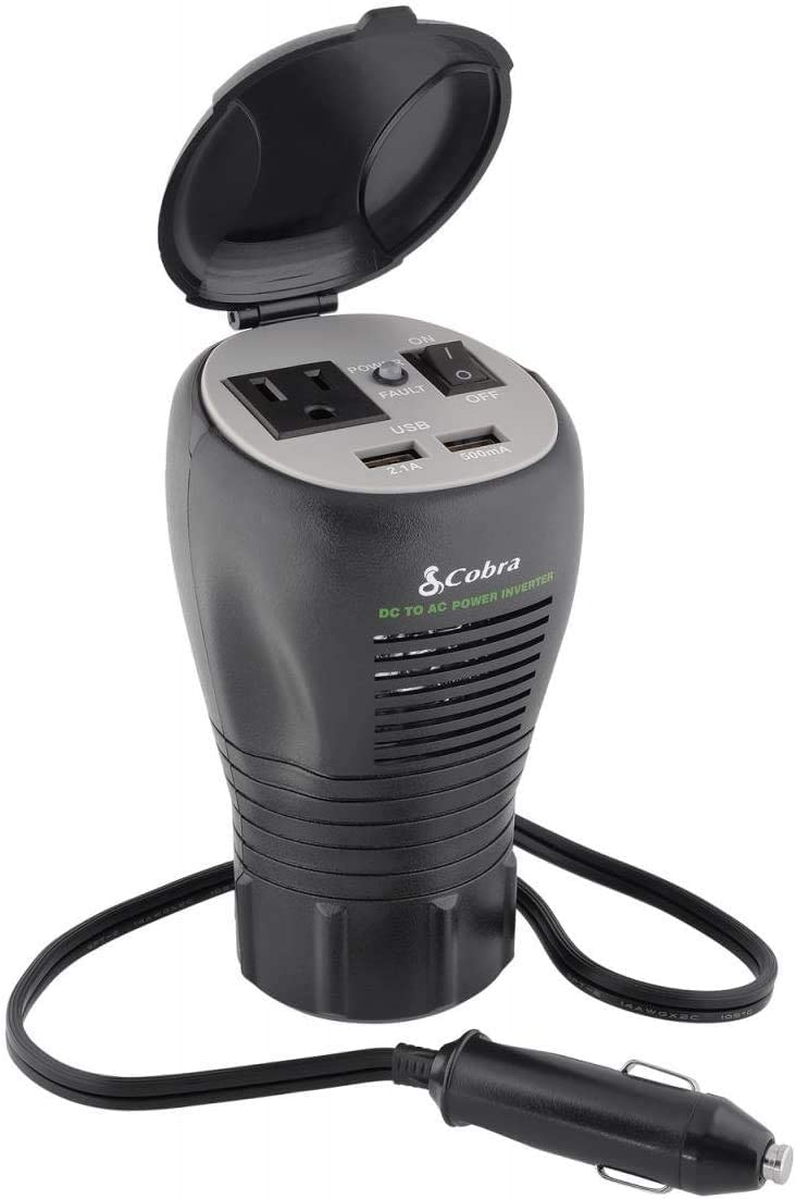 Cobra CPI290CH Compact Cup Holder Power Inverter – 200 Watt Car Charger, Grounded AC Outlet, 5 Volt 2.4 USB