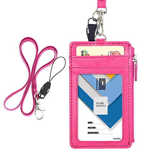Badge Holder with Zip, Wisdompro Slim Double Sided PU Leather ID Badge Card Holder Wallet Case with 5 Card Slots, 1 Side Zipper Pocket and 20 PU Neck Lanyard/Strap - Hot Pink (Vertical)