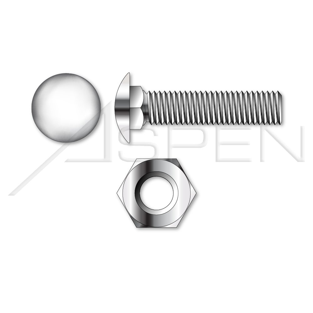 (150pcs each) 1/4''-20 X 3/4 Carriage Bolts, Hex Nuts, Stainless Steel 18-8 Ships FREE in USA