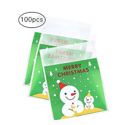 Cosanter 100 x Bolsas de Galletas Autoadhesivo de Navidad, Treat Bolsas para celofán Candy Bolsa de Almacenamiento Party Regalo (Muñeco de Nieve) 10 x ...