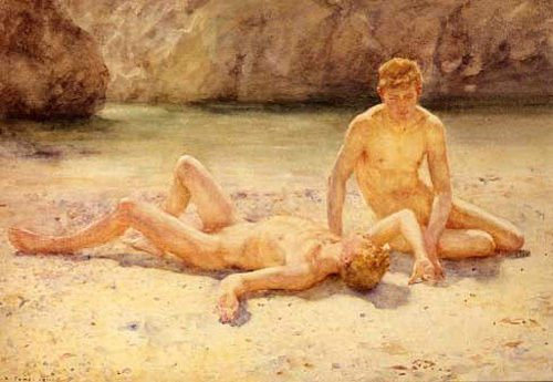 Real Hand Painted Nude young boys noonday heat print gay Canvas Oil Painting for Home Wall Art Decoration, Not a Print/ Giclee/ Poster, FRAMED, Ready to Hang