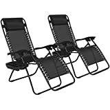 Best Choice Products® Zero Gravity Chairs Case Of (2) Black Lounge Patio Chairs Outdoor Yard Beach New