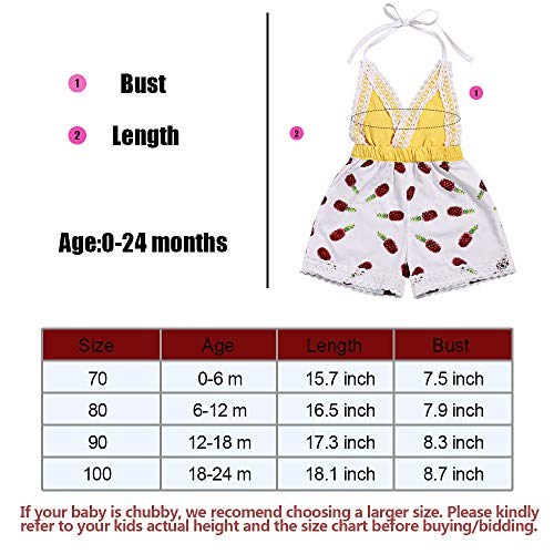 807a183e2b9b Newborn Infant Baby Girl Summer Clothes Halter Romper Pineapple Print  Backless Shorts Lace Jumpsuit 0-