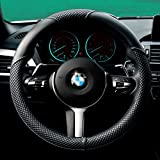 "2016 New Arrival Steering Wheel Cover-Black And Red, Odorless, 1.5lb, Microfiber Leather Fits 15"" Steering"