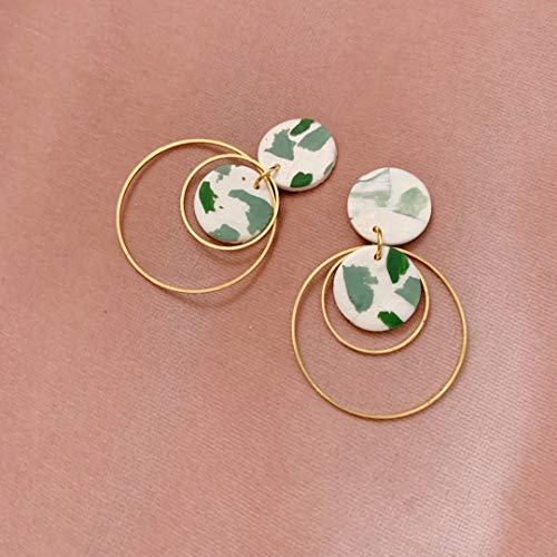 Marbled Green and White Clay Earrings