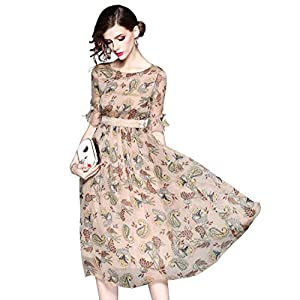 LAI MENG FIVE CATS Women's Summer Elbow Sleeve Floral Print Boho Casual A-line and Flare Midi Dress