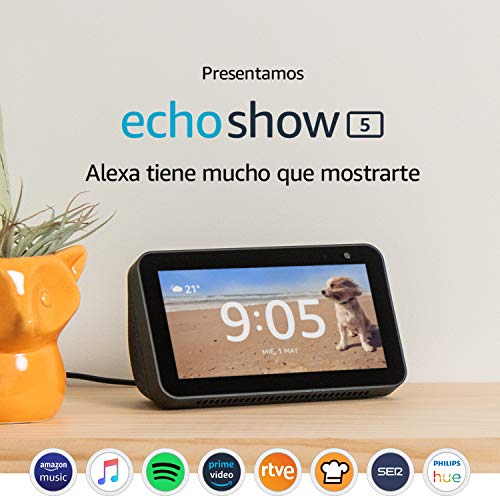 Presentamos el Echo Show 5: una pantalla inteligente y compacta con Alexa, negro